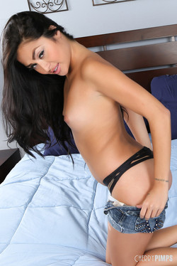 Michelle Maylene Asian Vixen Drops Denim Drawers in Bed