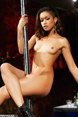 Skin Diamond Agile Ebony Pornstar Works Stripper Pole