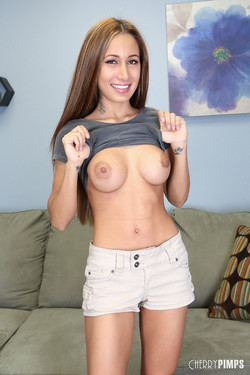 Amia Miley Cheerful Brunette Flashes Large Round Boobs