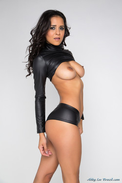 Abby Lee Brazil Bronze Beauty in Tight Black Leather