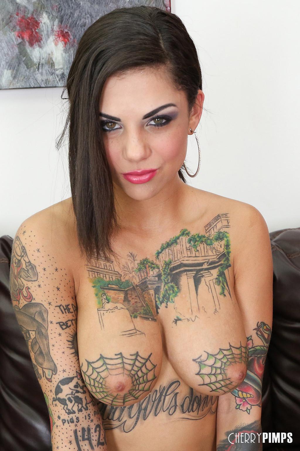 Porn star spider web tattoo on tits-6372