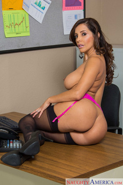 Francesca Le Stacked MILF Strips at the Office