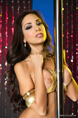 Trinity St. Clair Brunette Temptress Works the Stripper Pole