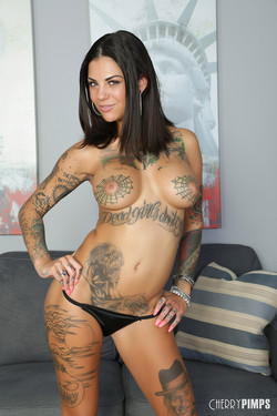 Bonnie Rotten Busty Inked Beauty Loses Babydoll Lingerie