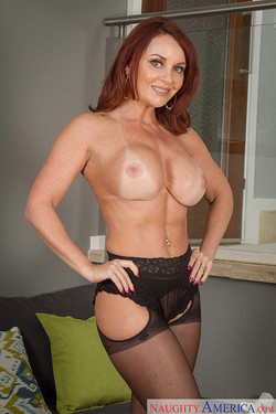 Janet Mason Redheaded MILF Seduces in Stockings