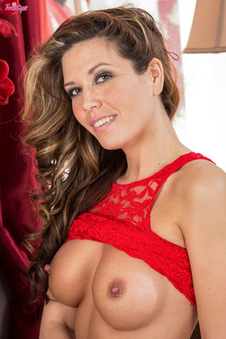Vicky Burns Fiery Lingerie Babe in Sizzling Red Lace