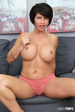 Shay Fox Big Boob MILF Strips on the Couch