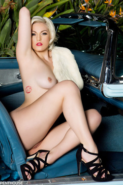 Jenna Ivory Hot Blonde Gets Naked in Classic T-Bird