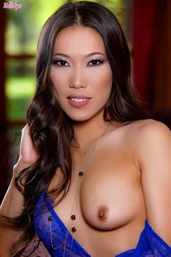 Kalyna Ryu Glamorous Asian Babe Strips Blue Lace Lingerie