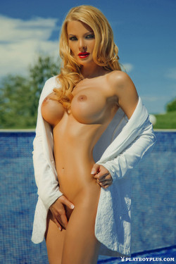 Nelly Georgieva Buxom Blonde Pop Singer Poses for Playboy Bulgaria
