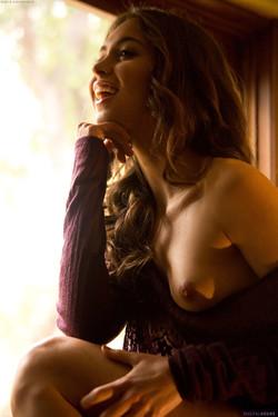 Riley Reid Reveals Small Perky Breasts in the Dark Room