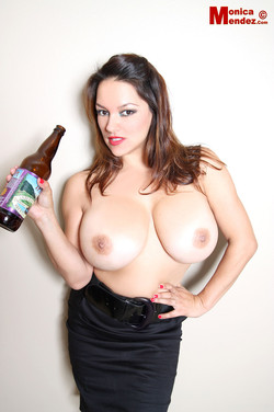 Monica Mendez Enjoys a Good Beer and Flashing her Big Boobs