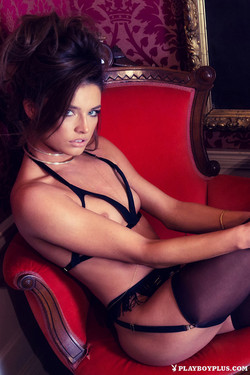Brittany Brousseau Glamourous Babe in Strapped Lingerie and Stockings