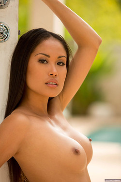 Davon Kim Alluring Asian Babe Reveals Stiff Nipples by the Pool