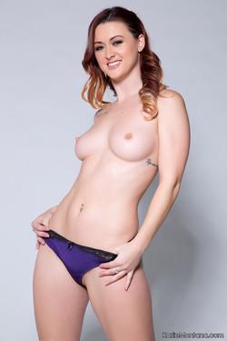 Karlie Montana Seductive Redhead Slides of Silk Bra and Panties