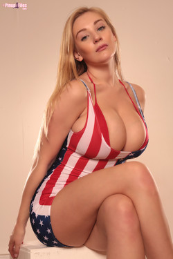 Beth Lily Big Boobs Blonde in Stars and Stripes Dress