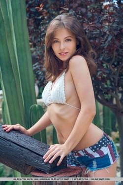 Hilary C Ukrainian Model Strips Naked in Jeans Shorts