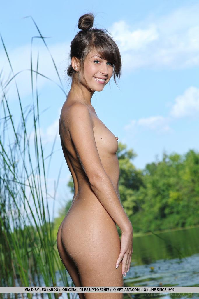 Mia D Petite Brunette Strips Bikini and Poses Naked