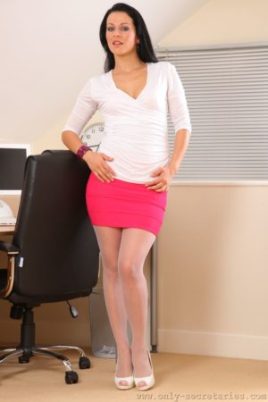 Katya Nova Sexy Secretary Strips in White Stockings