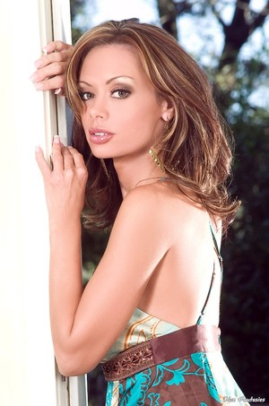 Crissy Moran in a Hot Flowing Dress