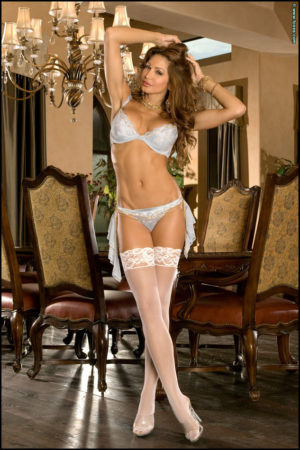 Angela Taylor Strips off Classy Lingerie