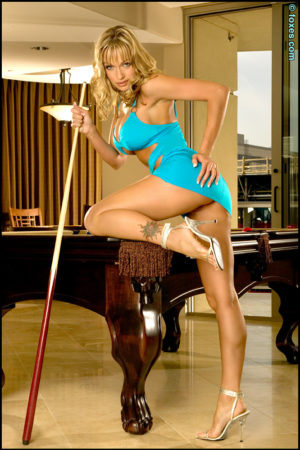 Amber Evans Busty Blonde Naughty in the Billiards Room