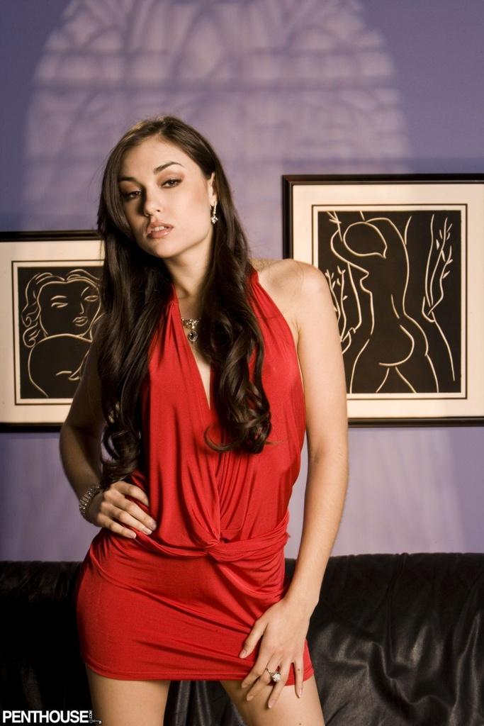 Sasha Grey in a Red Dress
