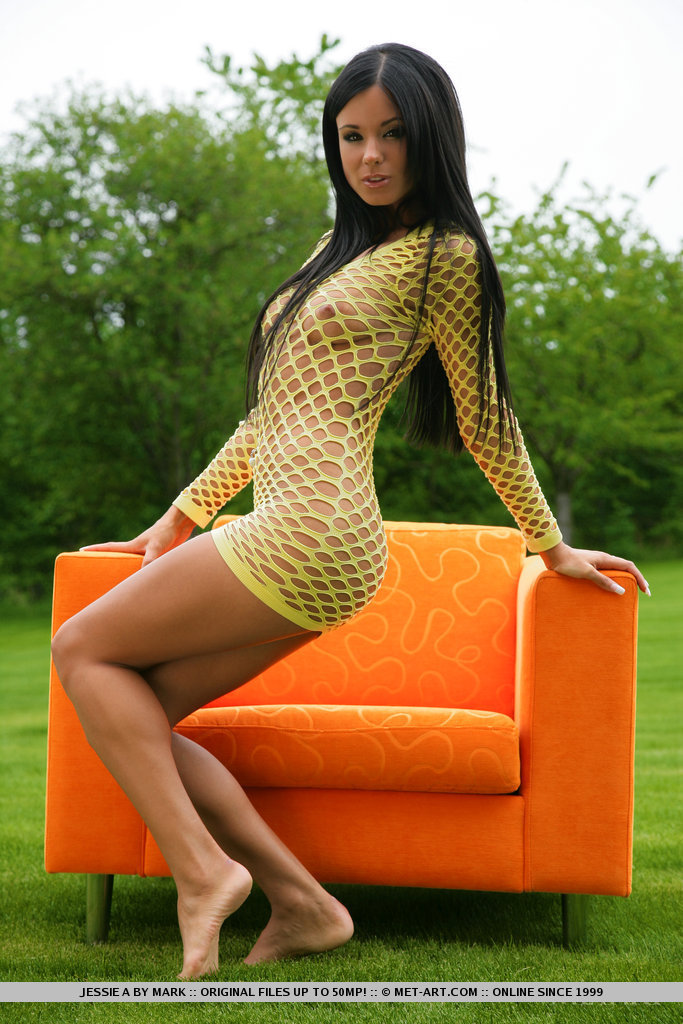 Ashley Bulgari Strips and Spreads in Yellow Fishnet