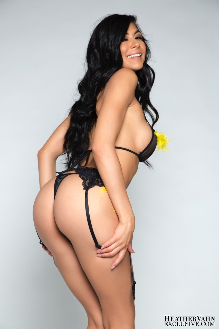 Heather Vahn Strips Black Bra and Panties