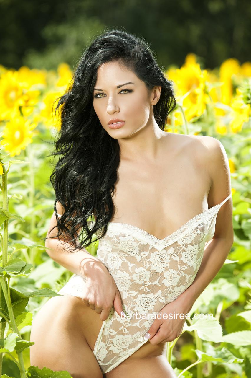 Barbara Desiree Strips Naked in a Wildflower Garden