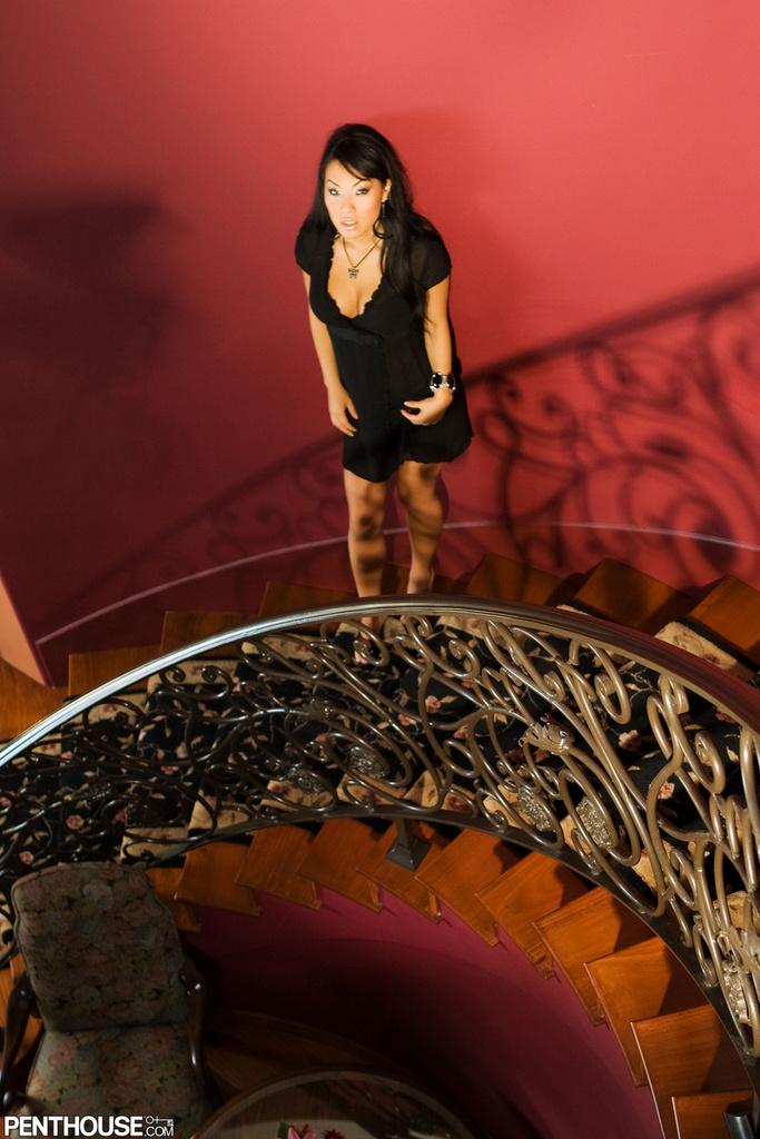 Asa Akira Spreads in Black Lingerie