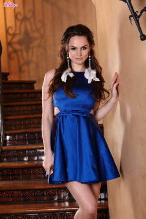 Tori Black Slender Brunette Milf with Small Boobs in a Blue Dress
