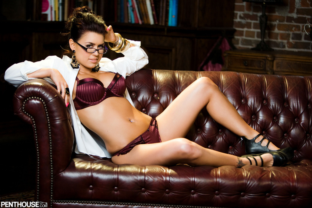 Eva Angelina Strips Off Satin Panties In The Office