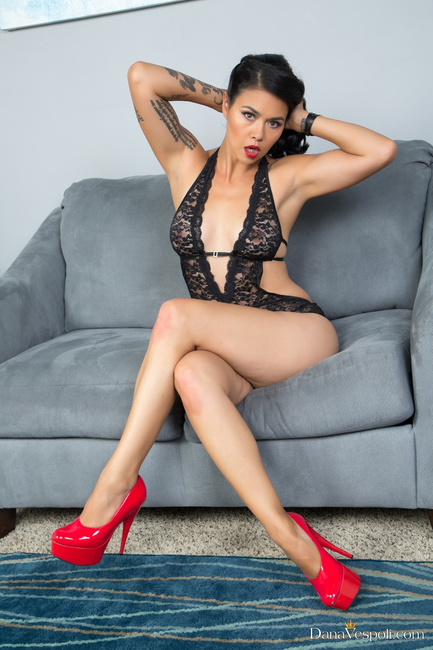 Dana Vespoli Red High Heels and Black Lace Lingerie