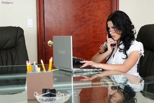 Rebeca Linares Sexy Secretary on the Phone