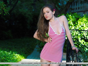 Arina G. Slender Brunette Strips off Striped Dress