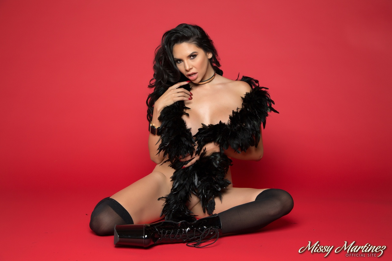 Missy Martinez Big Boobs and a Feather Boa