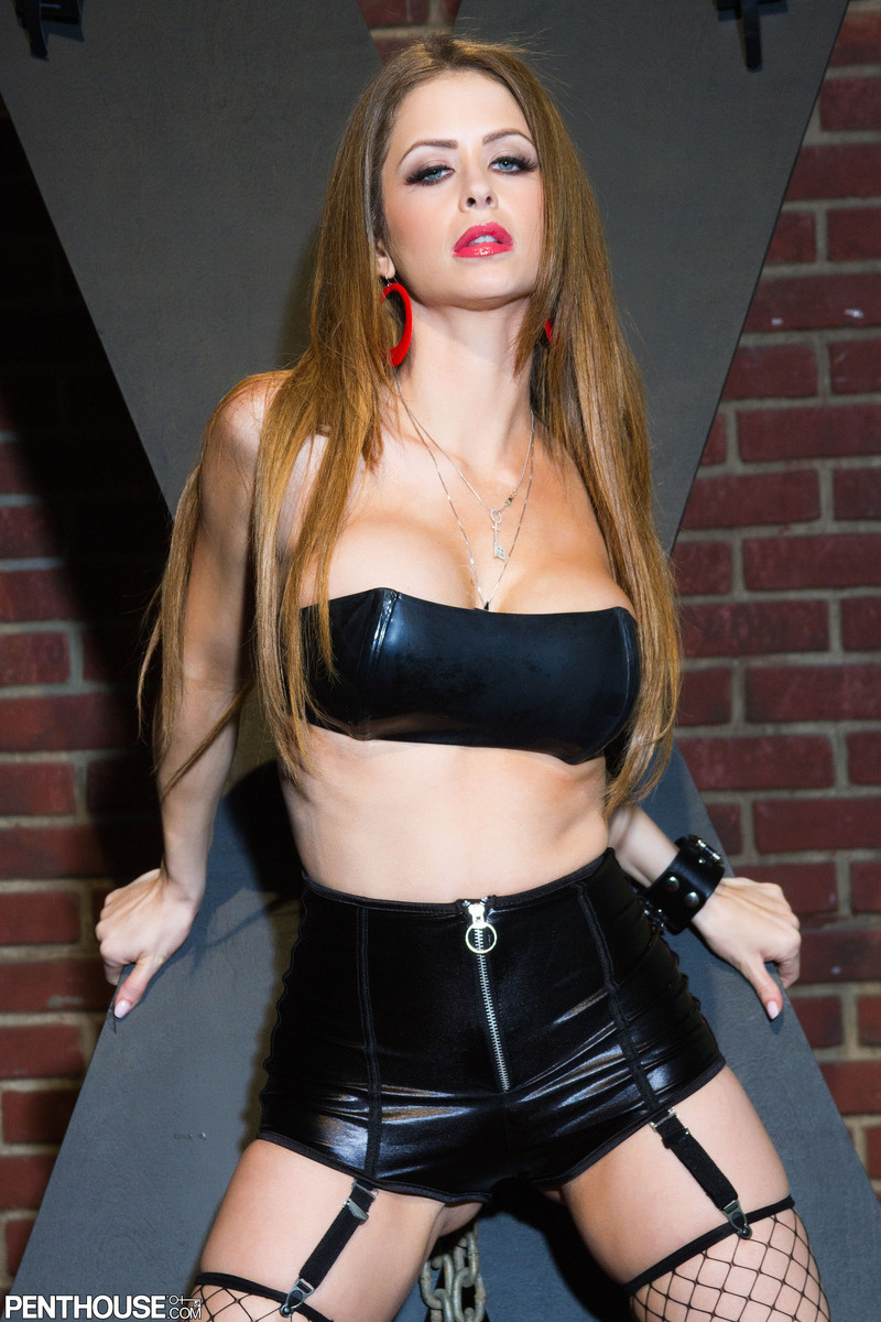 Emily Addison Big Boobs and Spread Legs in Leather