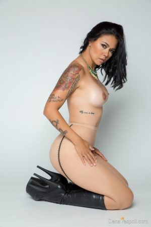 Dana Vespoli Spiked Boots and Fishnet Pantyhose