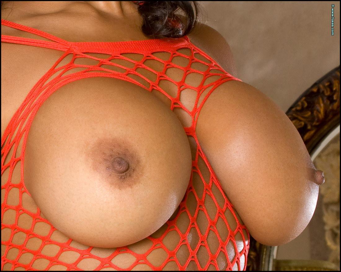 Eden Evans in Orange Fishnet Exposes Her Ebony Boobs