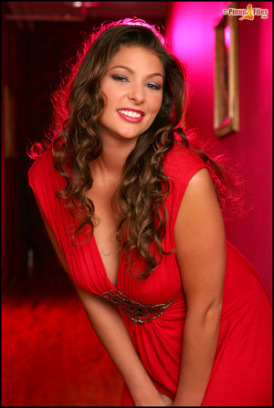 Amber Campisi in a Red Dress Flashing Her Big Boobs