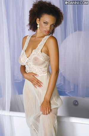 Gia LaShay in a Sheer White Gown