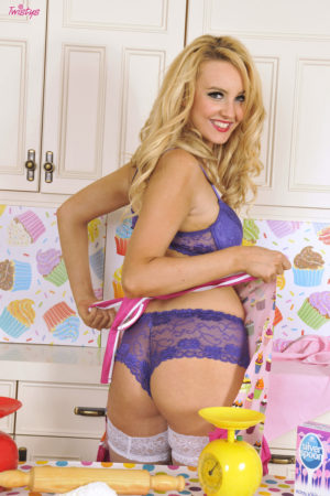 Katie Kay in Lingerie and Stockings in the Bakery
