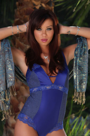 Capri Anderson Strips in Blue Lingerie and High Heels