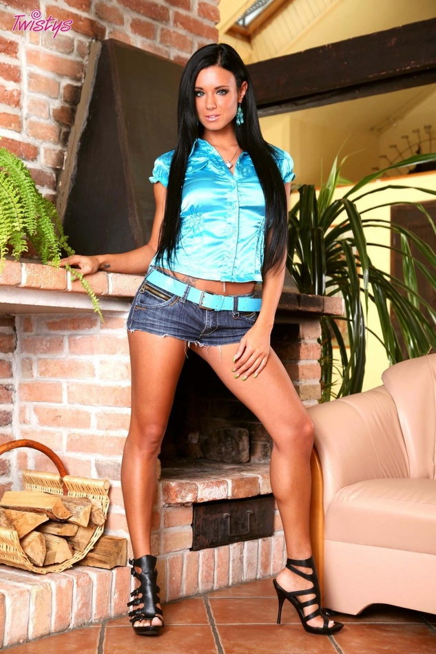 Ashley Bulgari Busts Out Of Blue Satin