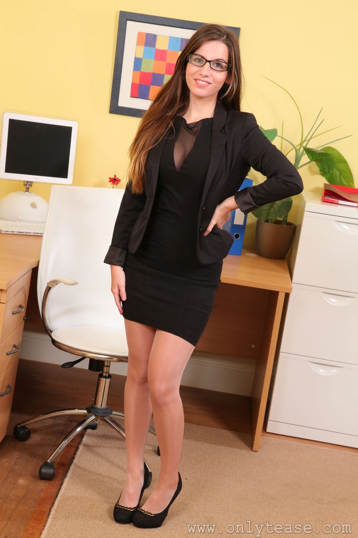 Brunette in Glasses Strips in Stockings at the Office