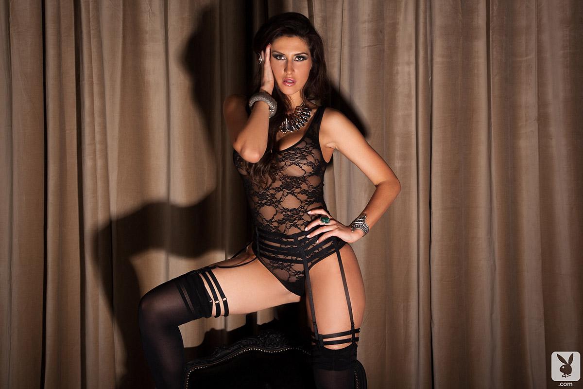 Miranda Nicole Sultry Busty Brunette in Black Lace