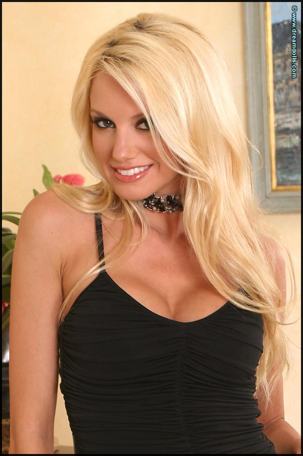 Ann Poll Sparkling Buxom Blonde Dazzles in Black Dress