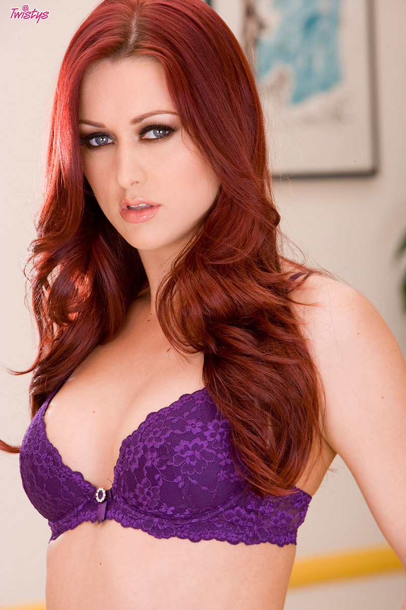 Karlie Montana Slender Redhead Sheds Purple Bra and Panties