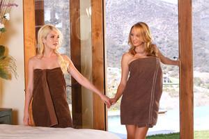 Brett Rossi and Tiffany Fox Hot Blonde Lesbian Massage